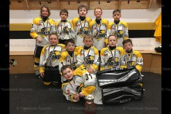 The TavistockNovice Reps were OMHA finalists. Lleft to right, back row: Chace Robinson, Bailey Brenneman, Liam Hilts, Cooper Yantzi, Rowan Bartlett; middle row: Tucker Otto, Alex Everett, Drew Roth, Gavin Witt, Jay Alexander; in front: Logan MacMillan. Absent from the photo is Cam Munro.