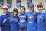 Grade 7 and 8 girls are all decked out in Blue Jays attire last week. From the left are Melanie Bender, Danielle Coddington, Brooklynn Lange, Amy Danen and Nicole Danen.