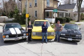 Elizabeth Street, Tavistock residents, from the left, Nancy Hotson (1972 El Camino), Ron Berger (1980 Scottsdale 10) and Reg Whalen (1984 Oldsmobile Cutlass).