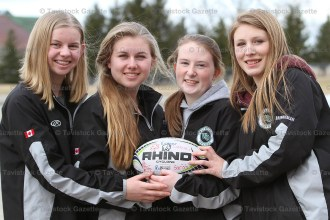 W-O Girls Rugby players who spent 10 days in Ireland, from the left, Emily Danen, Rose Danen, Hannah Wagler and Erin Brenneman.