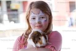 Deanna Latour, 7, who had her face painted at the Tavistock Dental booth, poses with her guinea pig, Norman.