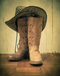 Western boots and hat with vintage tone