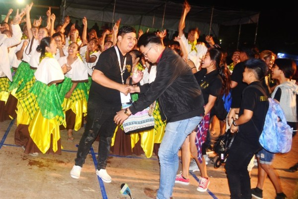 STA. MARIA dancers, coaches and supporters whoop it in jubilation up after the announcement that their team wins first place in the 2018 Bicentennial Kannawidan Street Dancing competitions. (Photo by E. Antonio)