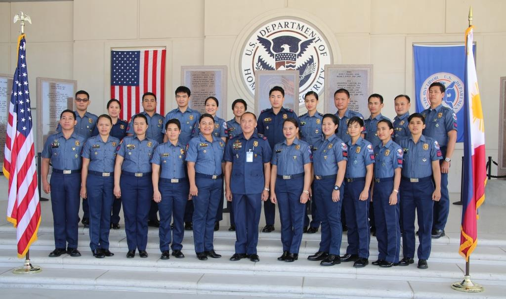 The newly-trained Transnational Criminal Investigative Unit (TCIU) poses at graduation with Chief Superintendent Eric Serafin Reyes of the Philippine National Police. (Photo/text by US Embassy Manila - Information Office)