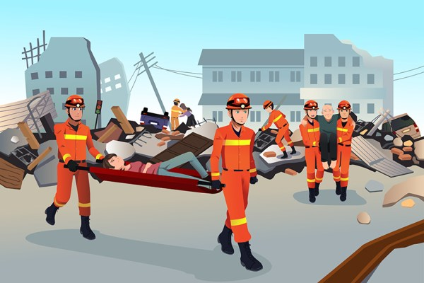 Rescue teams searching through the destroyed buildings after an earthquake.