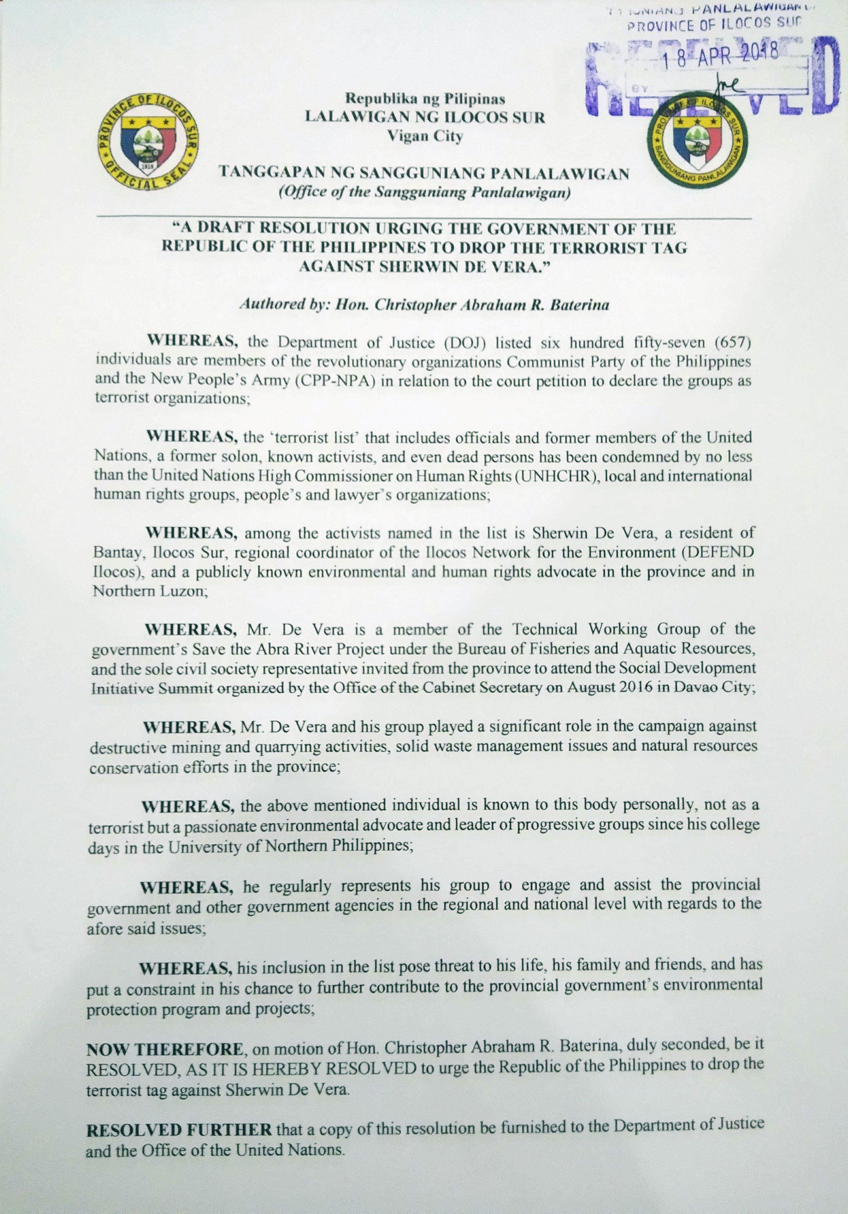 I.Sur Provincial Resolution supporting Sherwin de Vera