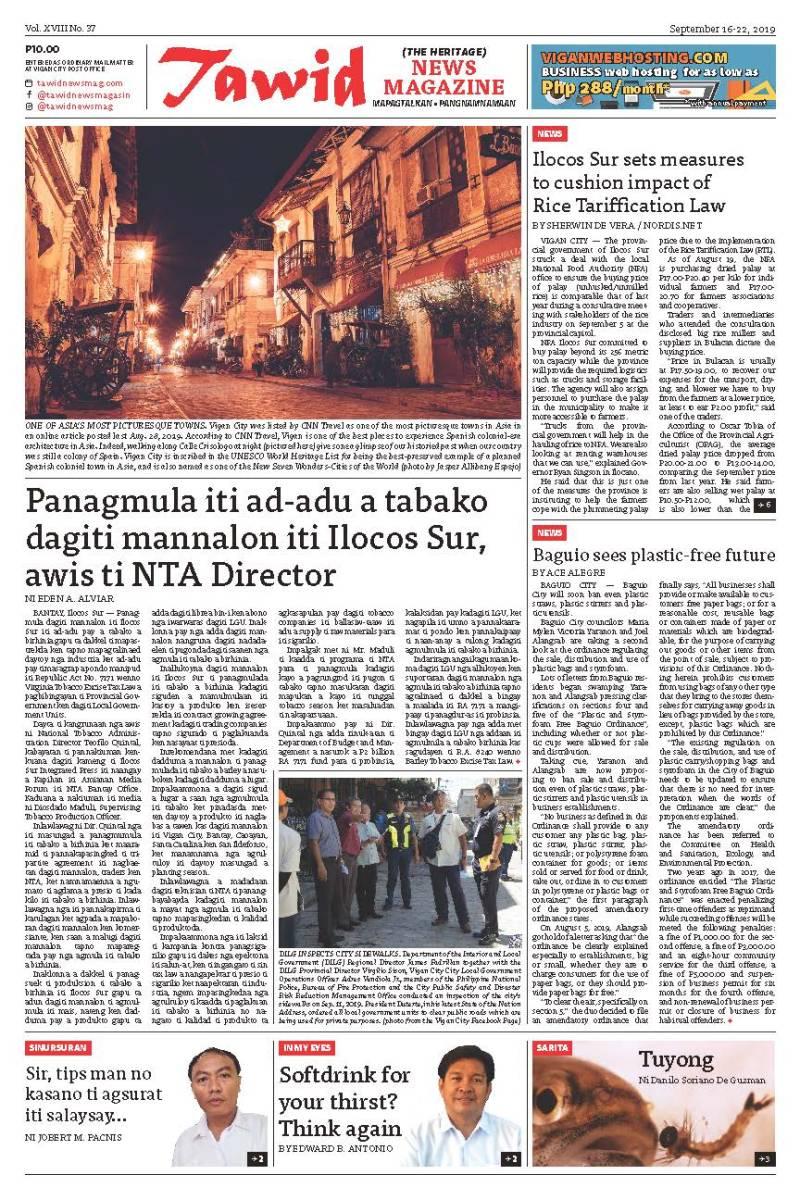 Sep 16 – 22, 2019 – Tawid News Magazine