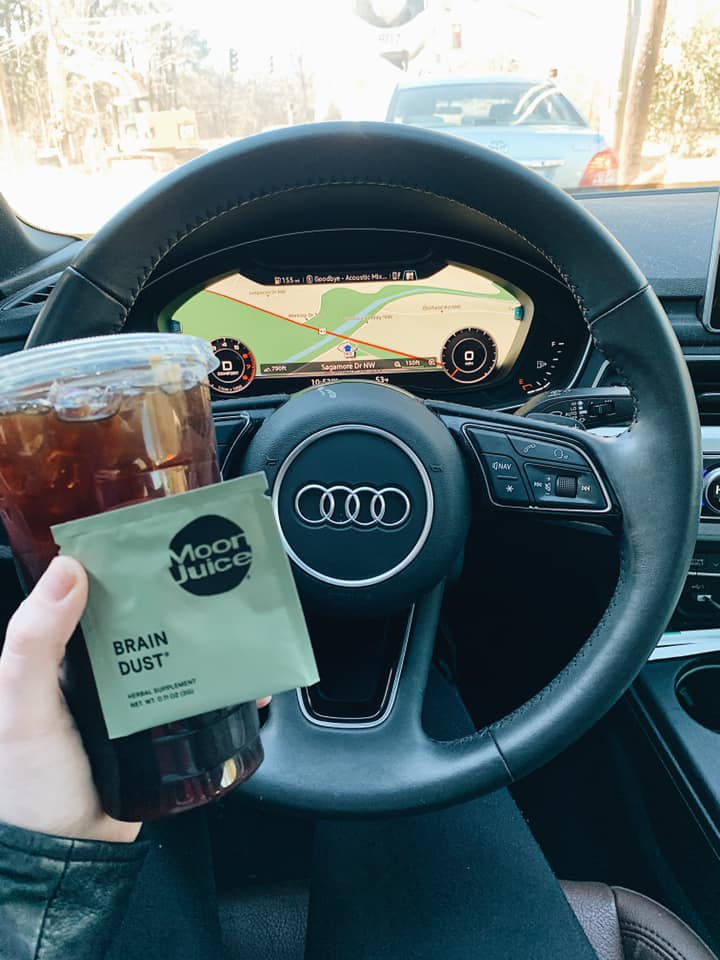 Starbucks iced coffee cold brew  moon juice Audi tawny swain