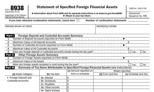 IRS Form 8938 specified foreign financial assets