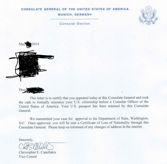 Documents to Request the Consular Officer When Renouncing U S