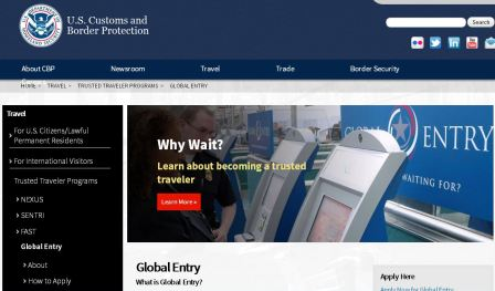 Global Entry Website - Kiosk