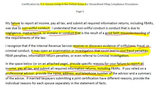 Certification US Residents Streamlined 2