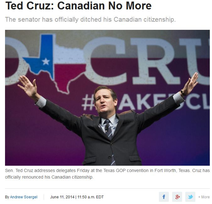 Ted Cruz Canadian No More