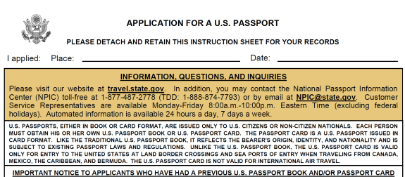 application for US passport p1
