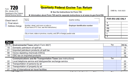 IRS Form 720 Excise Tax Return - Part I of II