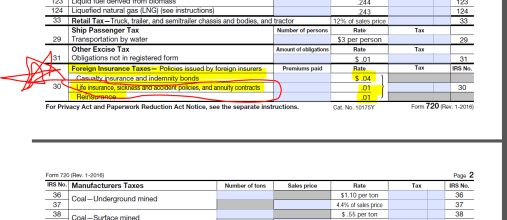 IRS Form 720 Excise Tax Return - Part II of II