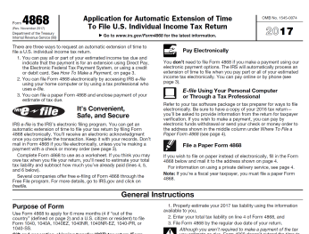 4868 IRS Form 4868 automatic extension
