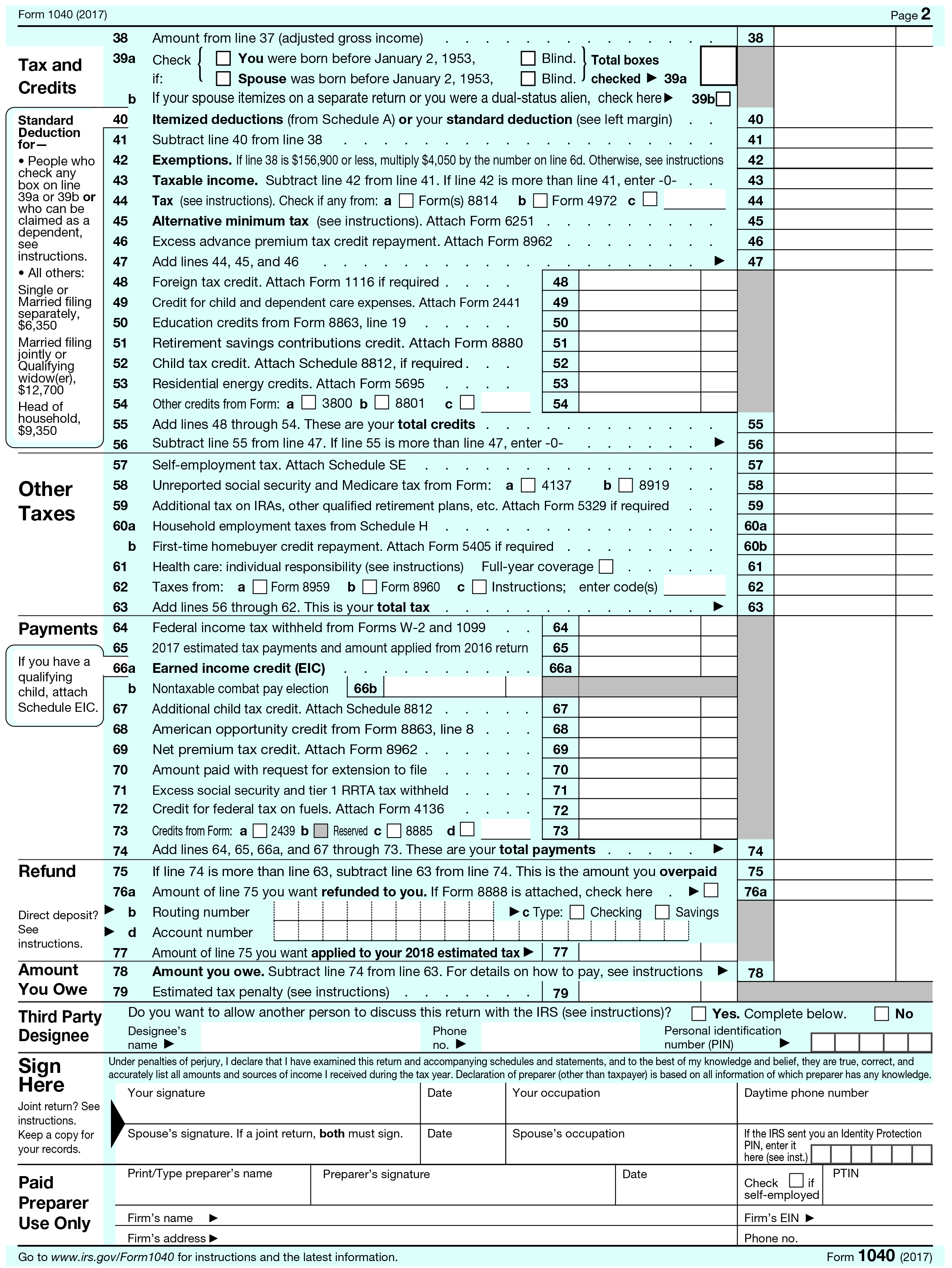 Form Line 44 Tax Table