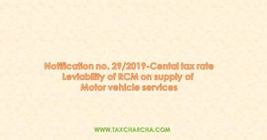 Notification no. 29/2019-central tax rate