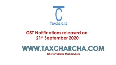 Photo of GST Notifications issued on 21st September 2020