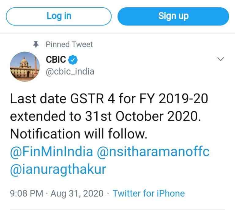 Last date GSTR 4 for FY 2019-20 extended