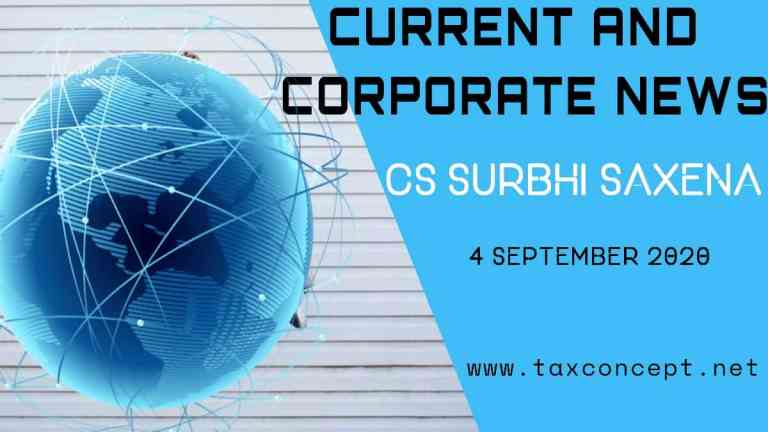 CURRENT AND CORPORATE NEWS : 4 SEPTEMBER 2020