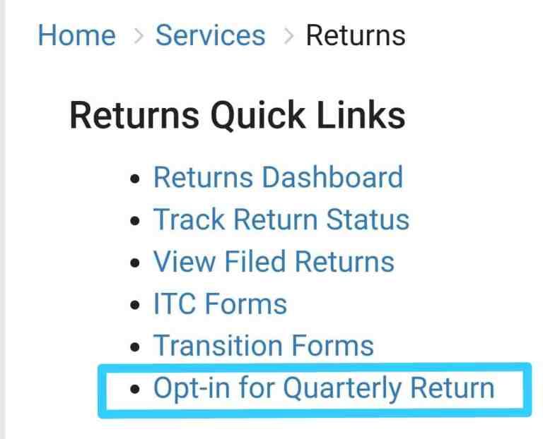 GSTN Enabled Option for Opting Quarterly Filing of GST Returns under QRMP Scheme