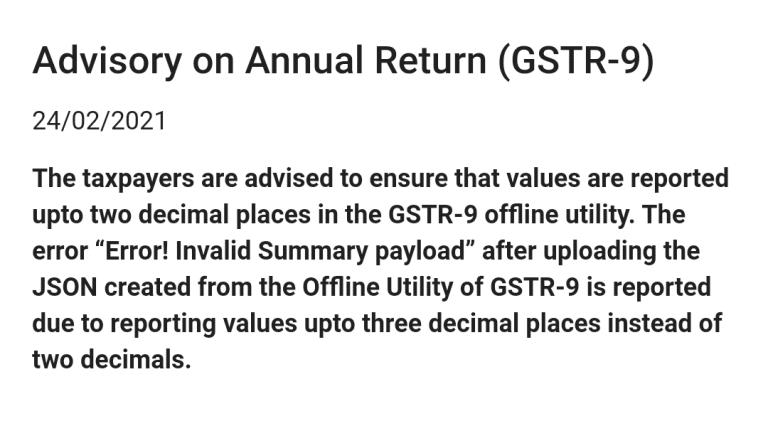 Important Advisory on GSTR-9 Annual Return by GSTN