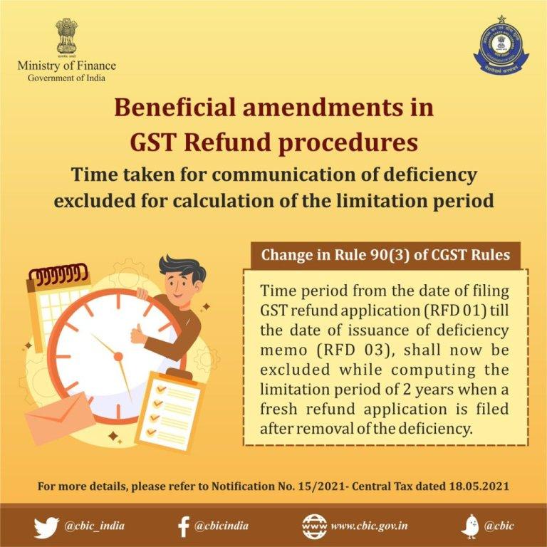 Change in Rule 90(3) of CGST Rule (GST Refund Procedure)