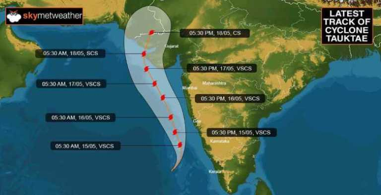"Very Severe Cyclonic Storm ""Tauktae"" (pronounced as Tau'Te) over East central Arabian Sea: Cyclone Warning for Gujarat & Diu coasts (Orange message)"