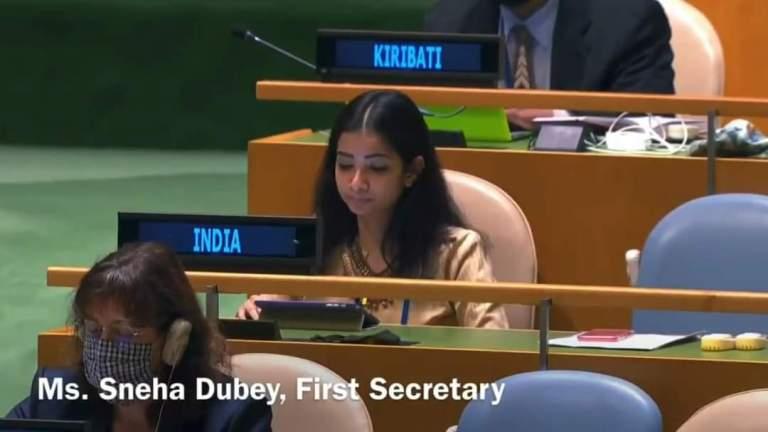 India's First Secretary Sneha Dubey, while addressing UNGA