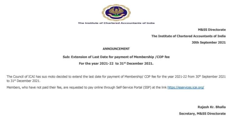 ICAI Important Announcement regarding extension of last date for payment of Membership/COP Fees