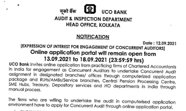 Application For Engagement Of Concurrent Auditor With UCO Bank (2021-2022)