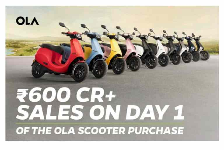 Ola Electric sells scooters worth over Rs 600 Cr+ on day one