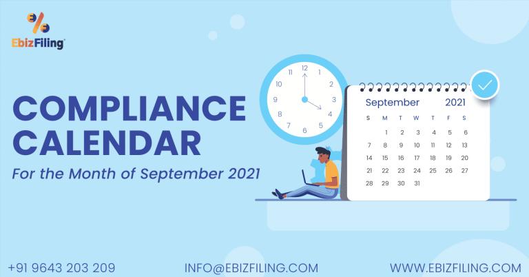 Tax Compliance and Statutory due dates Compliance Calendar September, 2021
