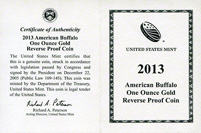 2013 U.S. Reverse Proof Gold Buffalo Coins