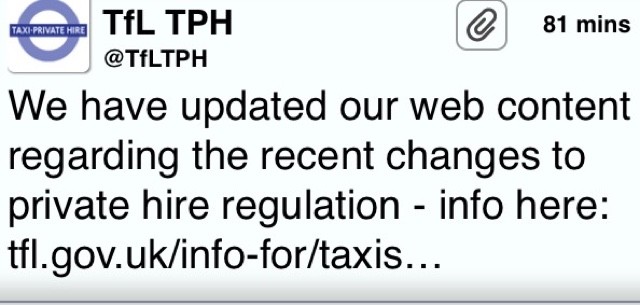 TfL Have Updated Their Website With Changes To Private