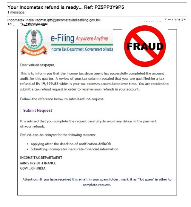 Income Tax Refund Fraud Email