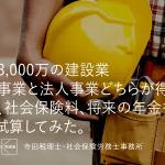 売上3,000万の建設業の場合、個人事業と法人事業どちらが得か。税金、社会保険料、将来の年金も考慮し試算してみた。