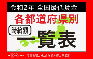 全国各都道府県別最低賃金令和元年(2019年)