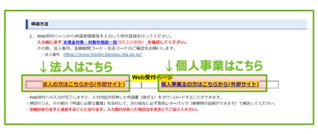 大阪府休業要請支援金の入力画面