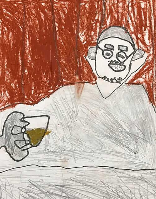 ビール飲む父の姿
