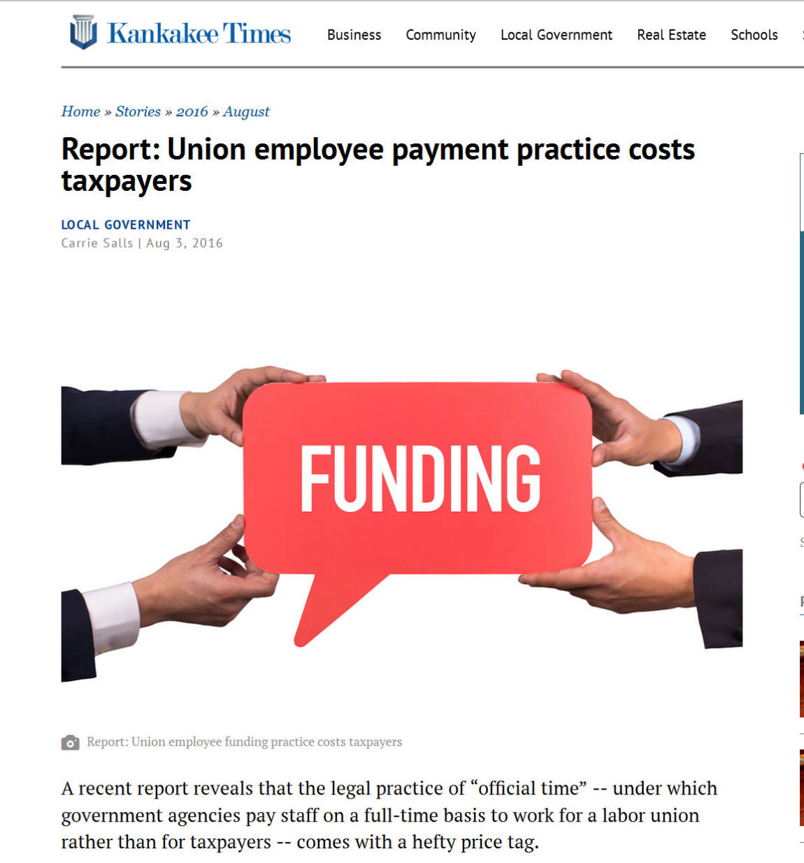 Report Union Employee Payment Practice Costs Taxpayers