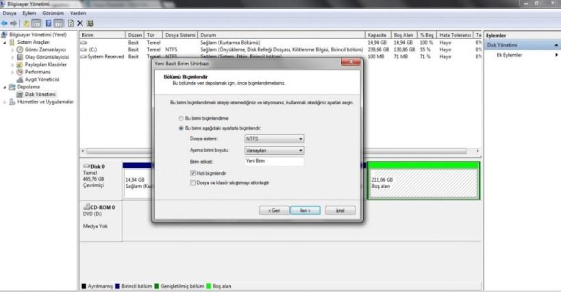 Windows 7 - Sabit Diski bölümlere ayırma (Resimli Anlatım) | Tayfunca Teknoloji