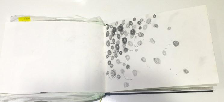 Mark Making : black dots on a bin in Chinatown