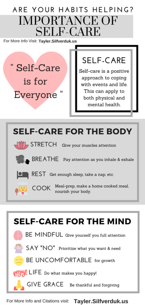 Are Your Habits Helping You_ - The Importance of Self-Care - Tayler Silfverduk DTR - #selfcare #selfcarechallenge #mindfulness #intuitiveeating #mindful #loveyourself #bodypositivity #rejectdiets #loveyourself #rd2be #dietetics #healthyhabits #habitguide #goodhabits #buildbetterhabits #infographic #healthinfographic #healthchallenge #mentalhealth #copingwithlife #chronicdiseaseinfo