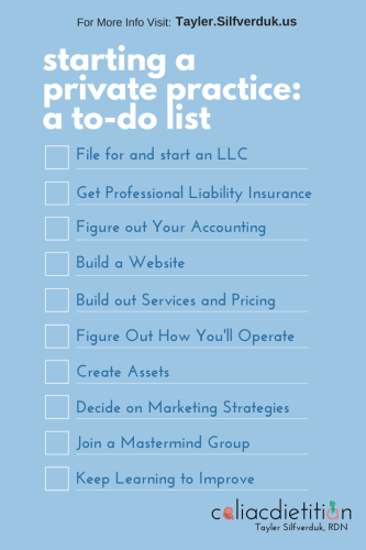 Starting a private practice to-do list - How to Become a Private Practice Dietitian - Tayler Silfverduk, RDN