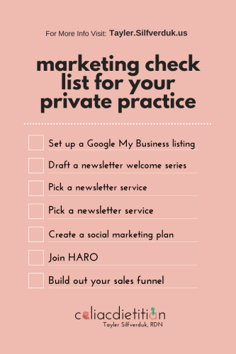 Marketing Check-list for Starting a Private Practice in Nutrition - Nutrition Private Practice Marketing Check-list - Start Marketing Your Nutrition Business - Tayler Silfverduk, RDN