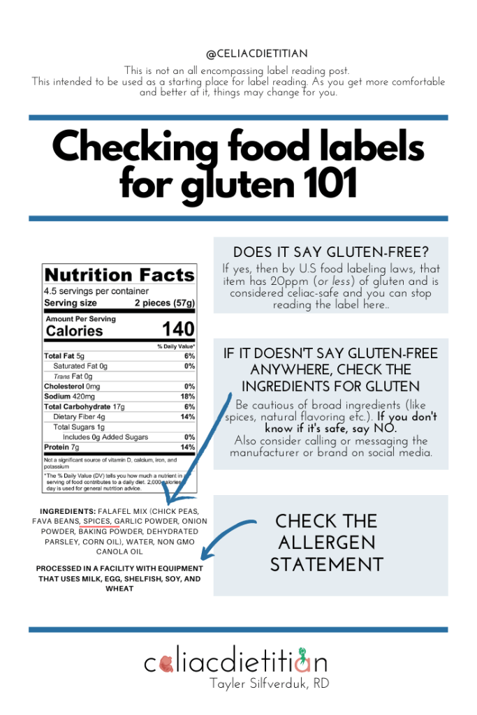 How to Check Food Labels for Gluten - Tayler Silfverduk, RD - celiac safe label reading, gluten-free label reading