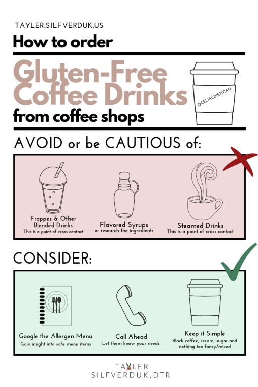 How to order Gluten-Free Coffee Drinks from coffee shops - Tayler Silfverduk - #glutenfreecoffee #glutenfreefrappe #glutenfreedrinks #glutenfreelatte #glutenfreestarbucks #celiacsafe, gluten-free cafe, gluten-free ordering, gluten-free coffee drinks, gluten-free frappe, gluten-free blended drinks, gluten-free coffee shop, gluten-free living tips, gluten-free living, gluten-free lifestyle, celiac life, celiac education, celiac facts, celiac nutrition, gluten-free nutrition, #glutenfreeliving #glutenfreelife #gfree #nogluten #wheatfree